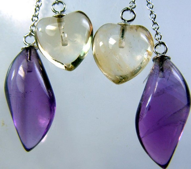 AMETHYST CITRINE EARRINGS -SILVER 23.2 CTS [GT709 ]