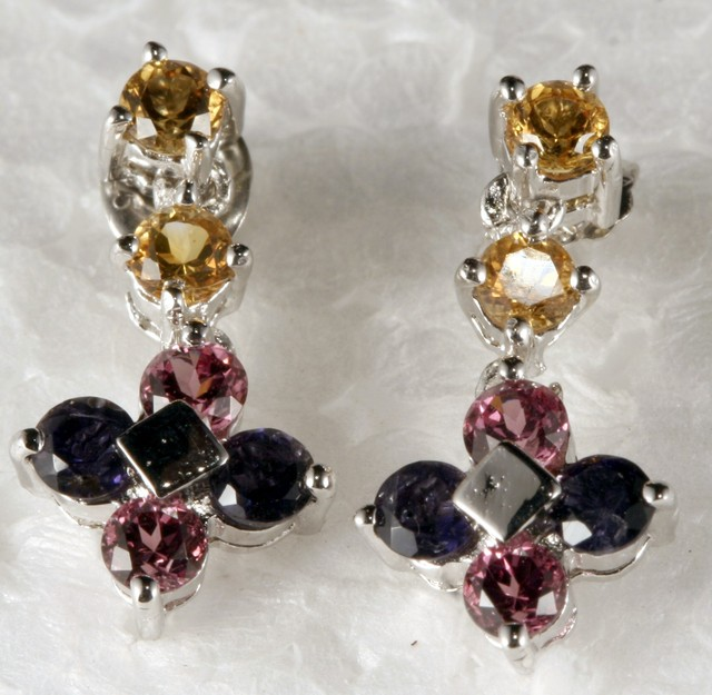 Sterling Silver Earring With Multi Color Gemstones SE-14