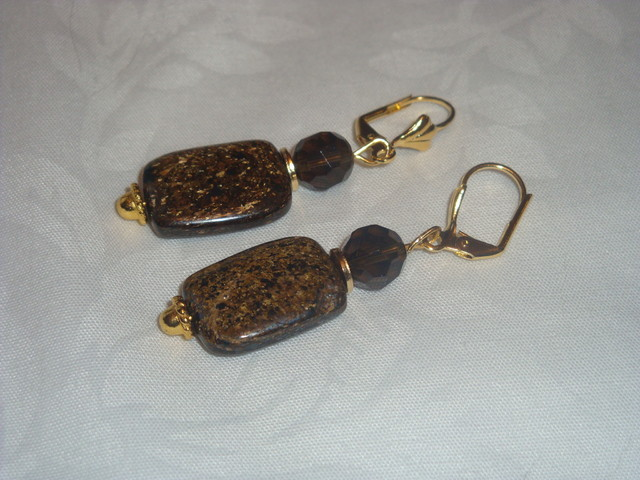 BRONZITE AND SMOKEY QUARTZ DANGLE EARRINGS