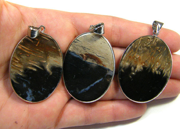 3 NATURAL PALM  ROOT FOSSIL  SET IN  PENDANT    AAA2762