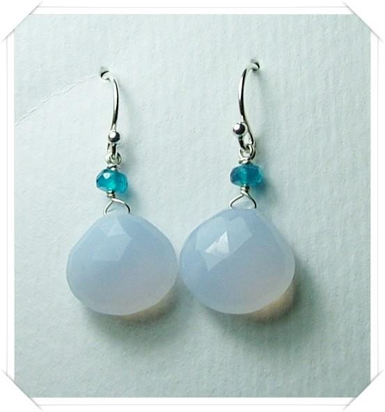 Quality Brazil Blue Chalcedony .925 Silver Earrings JW23