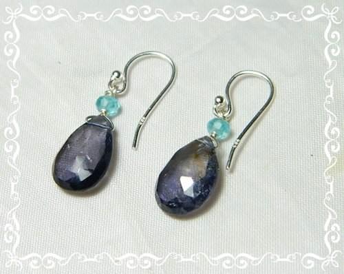 Quality African Iolite .925 Silver Earrings JW17