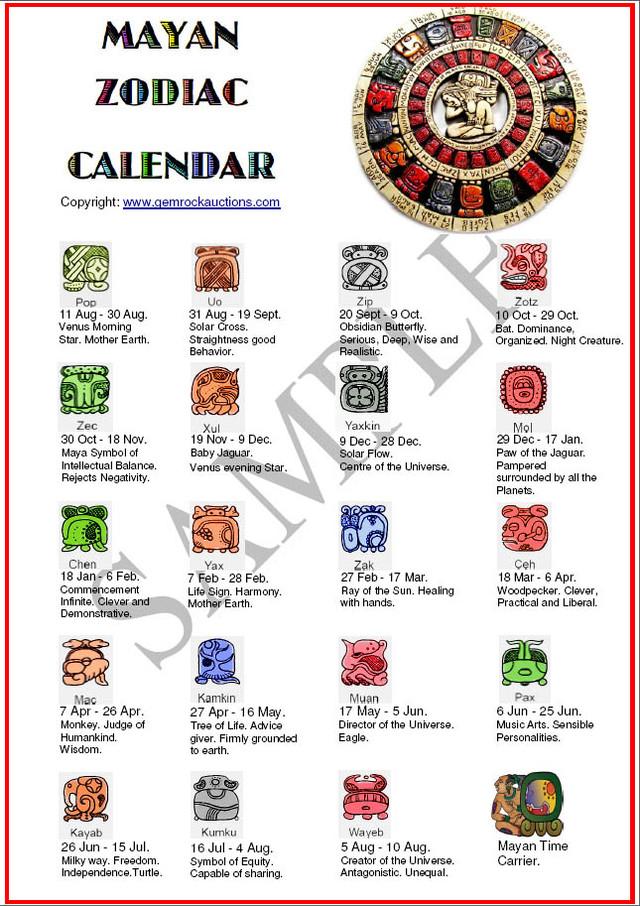 Ten Mayan Zodiac Calendars Free Shipping