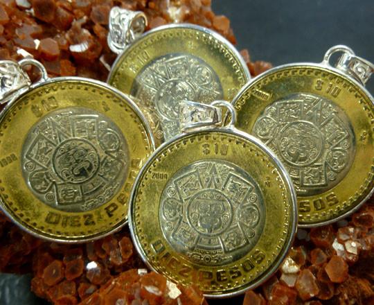 Parcel Four Aztec Sun God Coin Pendants  co 1471