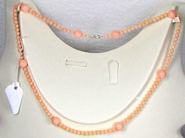 Necklace   LK0633 PINKISH/WHITISH CORAL BEAD