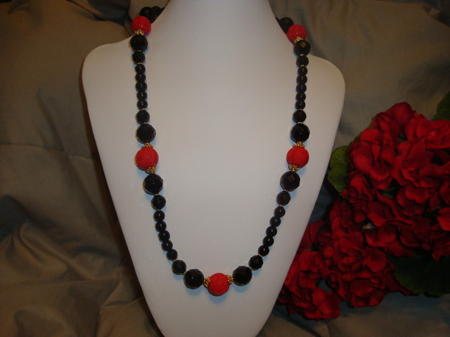 FACETED BLACK ONYX WITH CARVED CINNIBAR NECKLACE