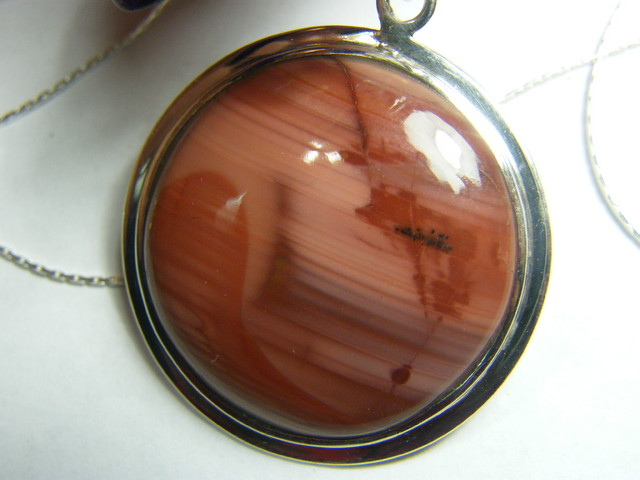 IMPERIAL JASPER PICTURE STONE PENDANT SILVER 50  CTS  AS-A50