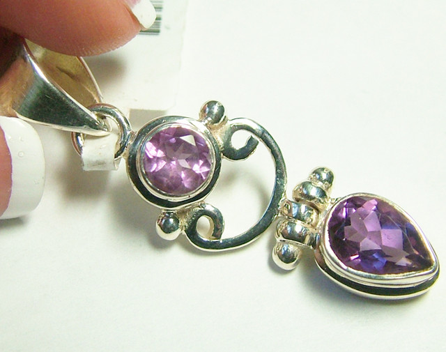 AMETHYST  FACETED  SILVER PENDANT -  36CTS  ADK-153