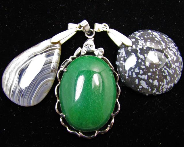 Three Jasper pendant s for price one!  MJA 388