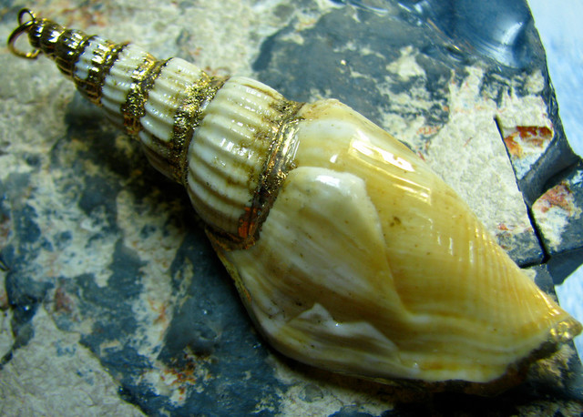-- UNIQUE NATURAL SHELL PENDANT WITH GOLD PAINT  --