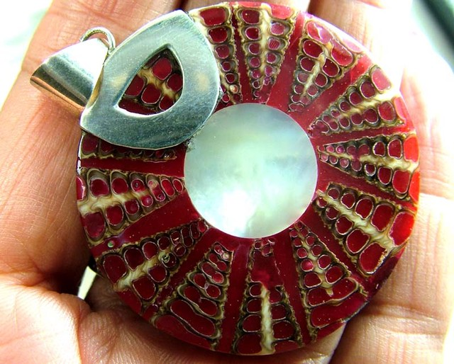 SHELL JEWELRY PENDANT  925 SILVER 57.5 CTS  LJ-37