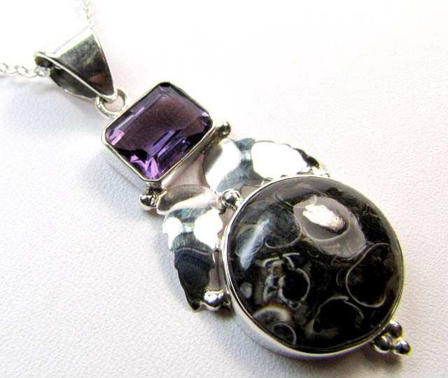 AMETHYST  % Moroccon Fossil SILVER PENDANT 31.80 CTS MGMG 56