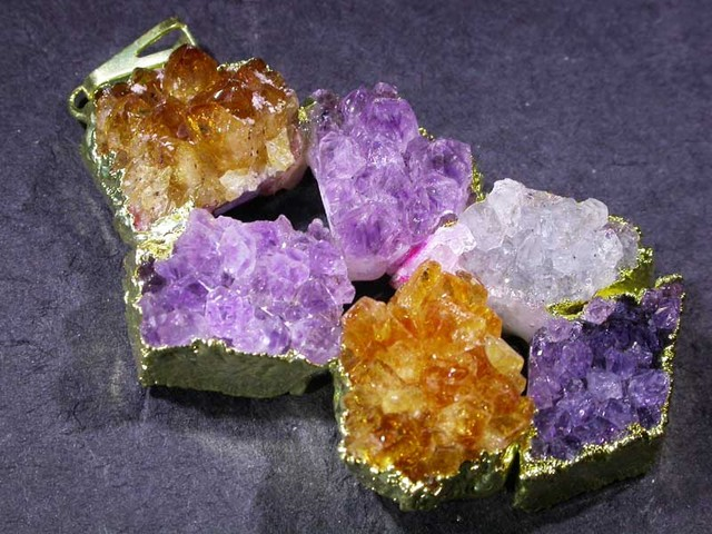 AMETHYST AND CITRINE PENDANT [SJ2978 ] TOTAL WEIGHT 145 CTS