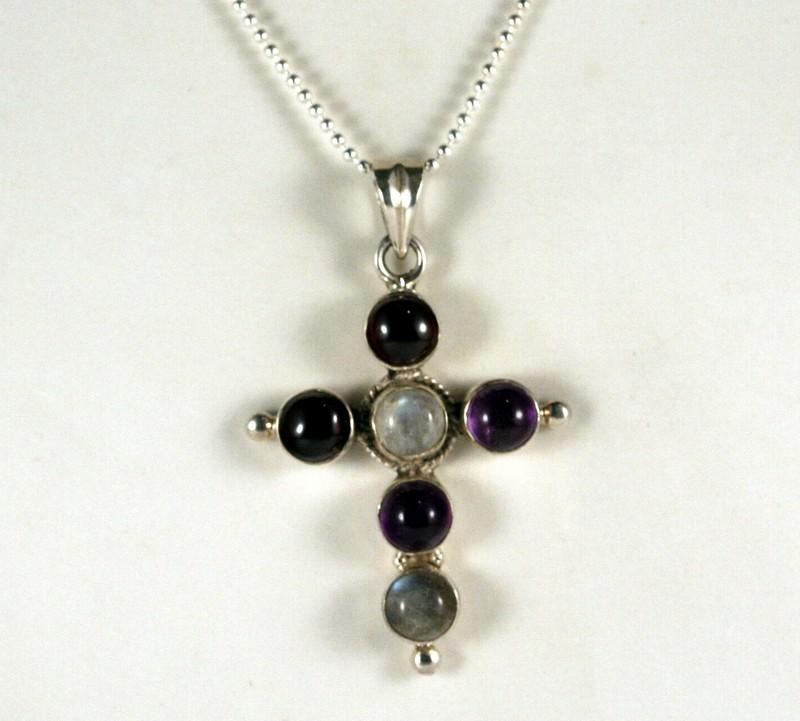 Sterling Silver Necklace & Multi Color Gem Cross  ( TC-N81