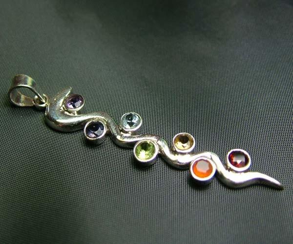 Elegant Snake 7 Stone 925 Silver Pendant JW85