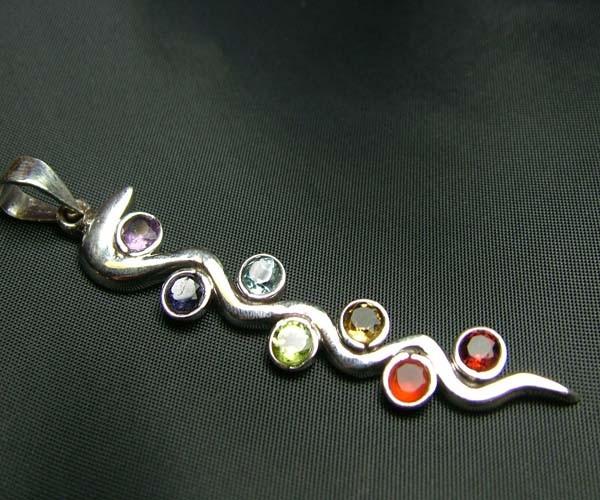 Elegant Snake 7 Stone 925 Silver Pendant JW84