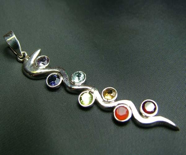 Elegant Snake 7 Stone 925 Silver Pendant JW95