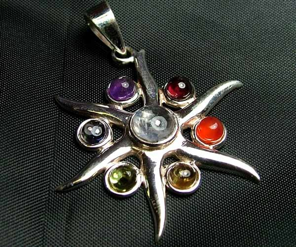 Exotic 925 Silver Handcrafted 7 Gemstone Pendant JW123