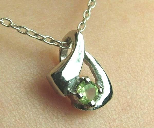 Elegant Peridot Faceted Stone 925 Silver Pendant DJP13