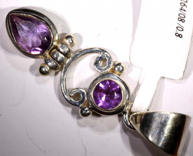 AMETHYST FACETED SILVER PENDANT - 35CTS TBJ-614