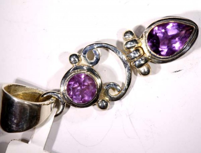 AMETHYST FACETED SILVER PENDANT - 36 CTS  TBJ-617