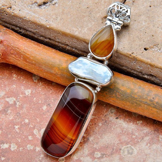 Botswana Agate, Pearl, Agate, Sterling Silver Pendant 2 3/4