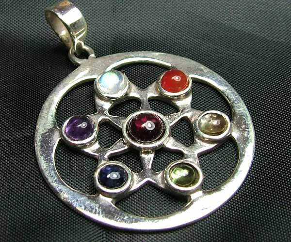 Exotic 925 Silver Handcrafted 7 Gemstone Pendant JW101
