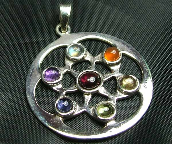 Exotic 925 Silver Handcrafted 7 Gemstone Pendant JW100