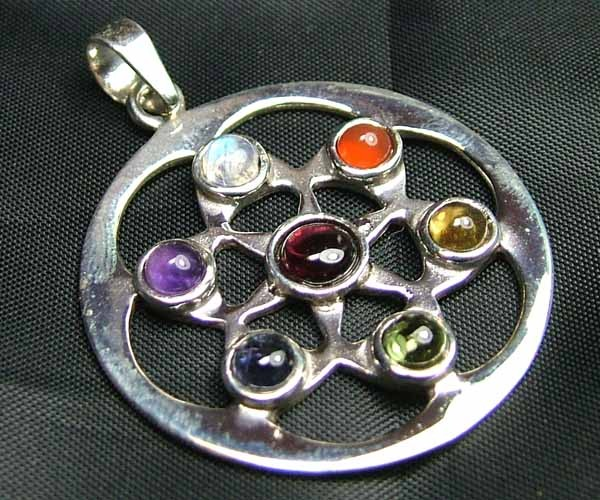 Exotic 925 Silver Handcrafted 7 Gemstone Pendant JW118