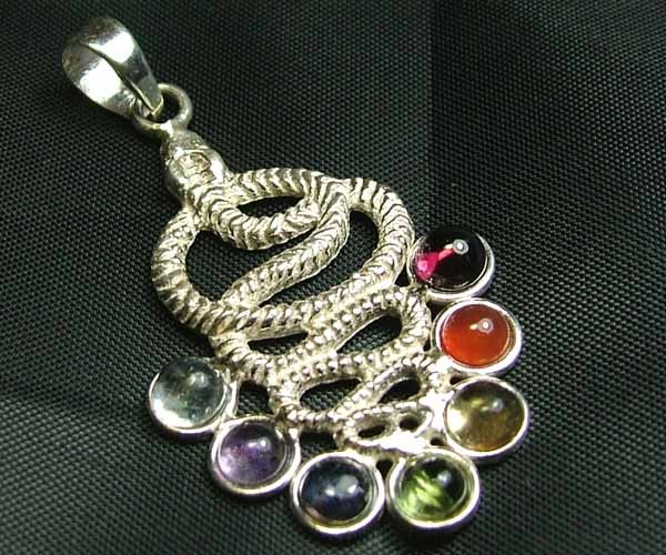 Exotic 925 Silver Handcrafted 7 Gemstone Pendant JW78