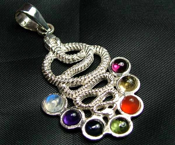 Exotic 925 Silver Handcrafted 7 Gemstone Pendant JW79