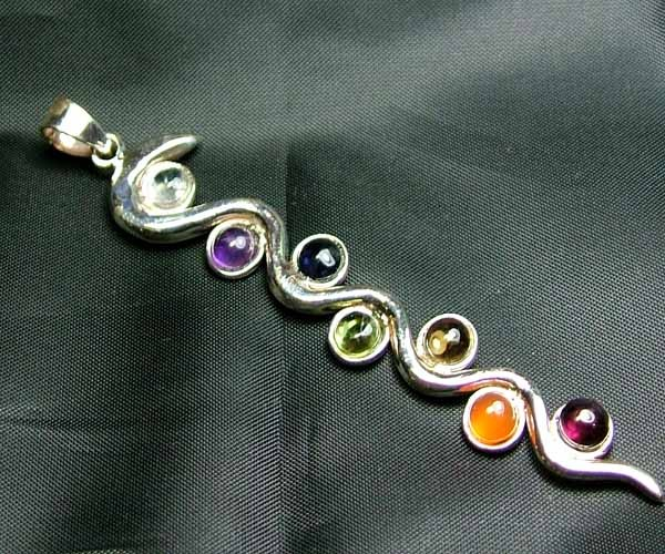 Exotic 925 Silver Handcrafted 7 Gemstone Pendant JW109