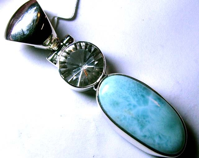 LARIMAR PENDANT SILVER JEWELRY 48 CTS  TBG-58