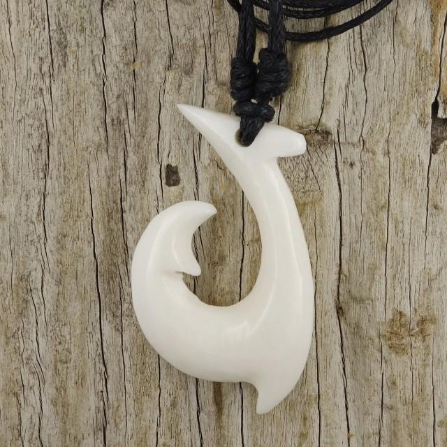 Maori Fish Hook Necklace, White Bone Pendant Men's Surfer Hei Matau