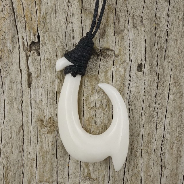 Maori Fish Hook Necklace, White Bone Pendant Men's Surfer Hei Matau