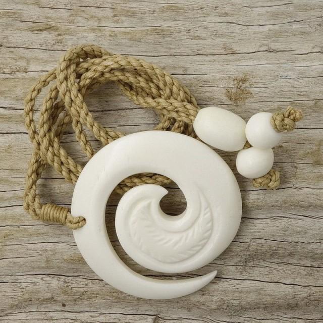 Maori Bone Koru Spiral Wave Pendant Lashed Necklace Hand Carved