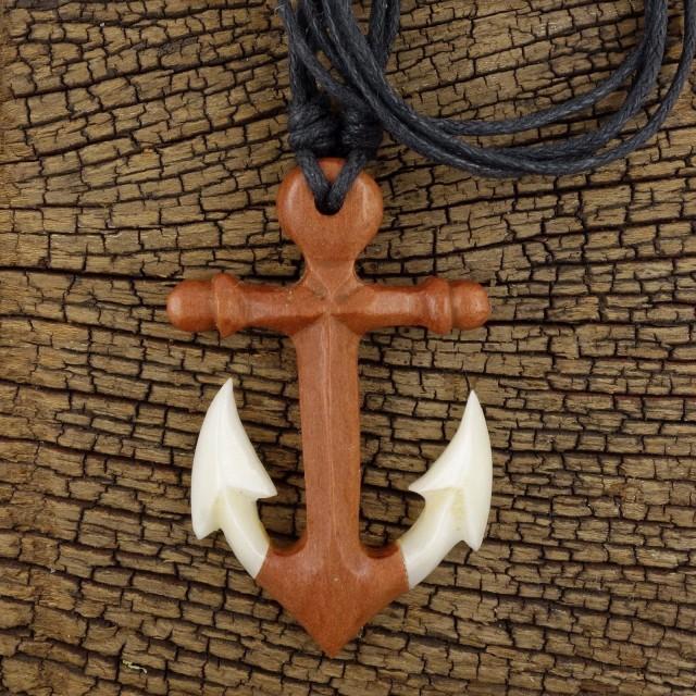 Maori Anchor Necklace, Bone Wood Pendant Men's Surfer