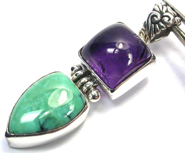 GEMSTONES PENDANT DIRECT FROM FACTORY SILVER 21.20CTS SJ1177