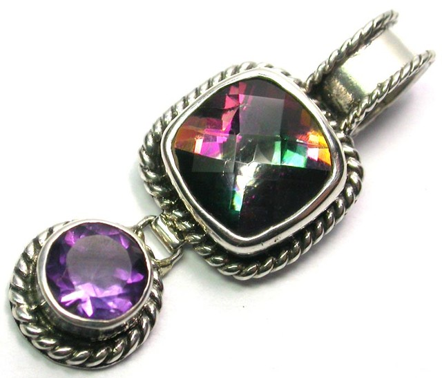 GEMSTONES PENDANT DIRECT FROM FACTORY SILVER 25.20CTS SJ1179