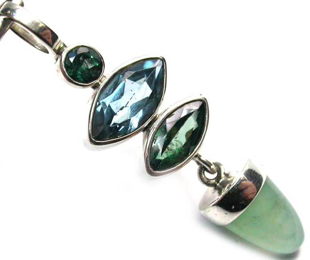 GEMSTONES PENDANT DIRECT FROM FACTORY SILVER 21.95CTS SJ1184