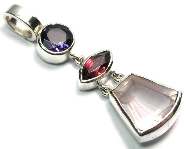 GEMSTONES PENDANT DIRECT FROM FACTORY SILVER 16.60CTS SJ1186