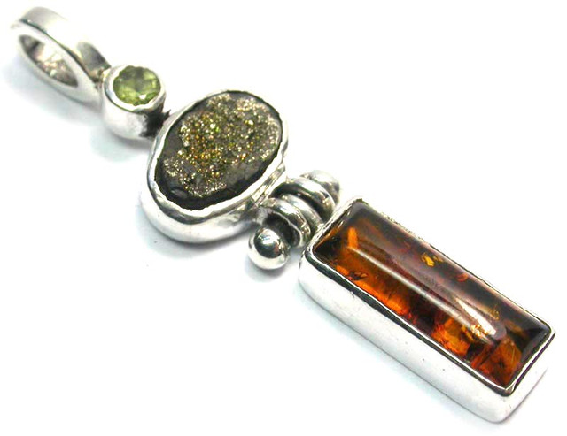 GEMSTONES PENDANT DIRECT FROM FACTORY SILVER 15.55CTS SJ1187