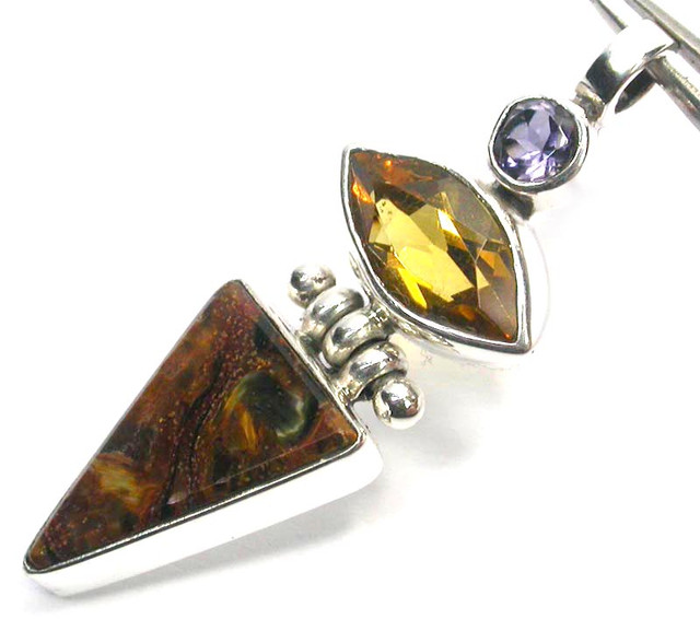 GEMSTONES PENDANT DIRECT FROM FACTORY SILVER 23.80CTS SJ1193