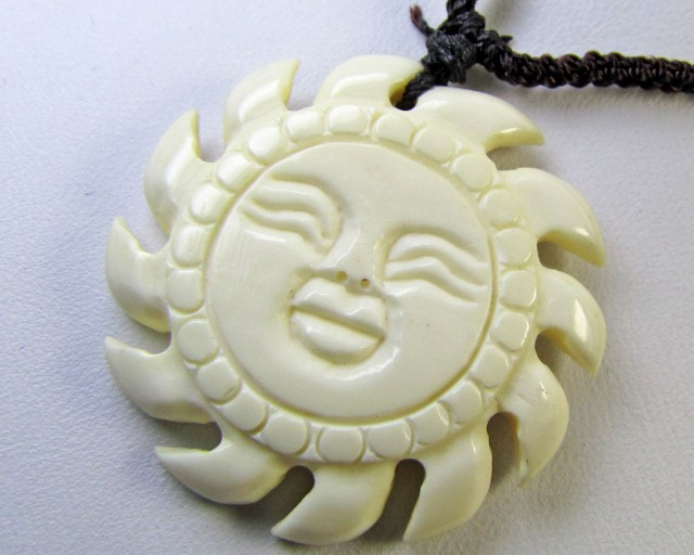 MAMMOTH IVORY CARVED  SUN FACE PENDANT   MJA 302