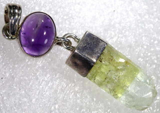 NATURAL BERYL- AMETHYST  SILVER PENDANT 35.65  CTS  TBJ-769