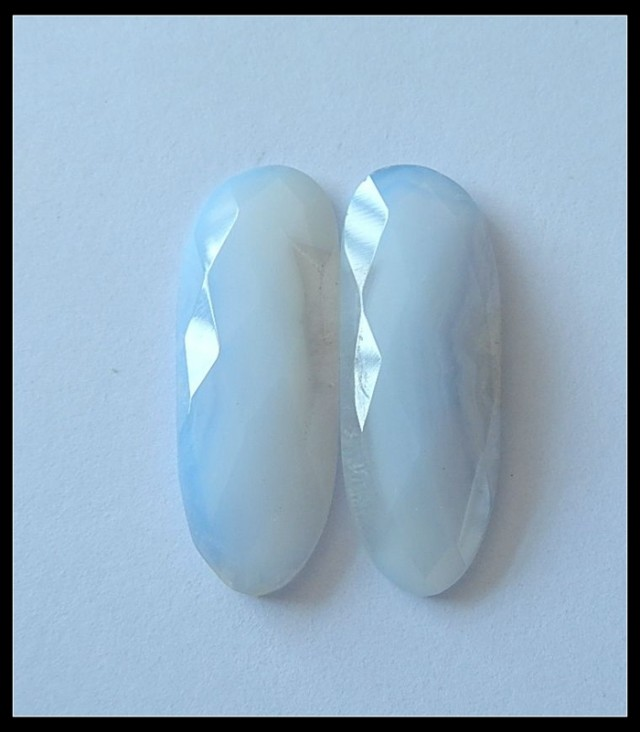 27.5ct Faceted Blue Lace Agate Cabochon Pair