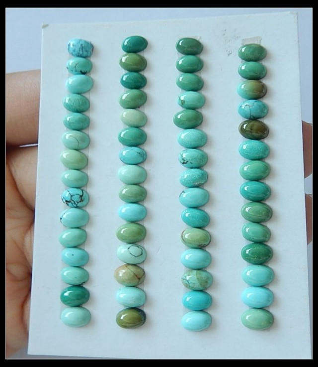 Free Shipping!!!Sale!!!Parcel Cabochon 60 PCS Oval Turquoise Cab,26.4cts