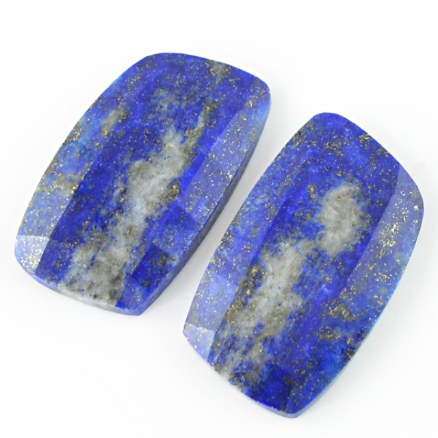 Genuine 52.50 Cts Checkered Cut Lapis Lazuli Gemstone Pair