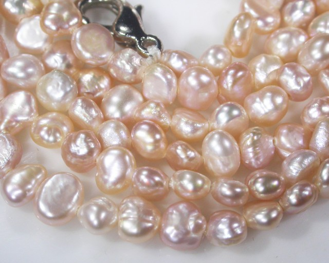 Stunning Champagne nugget  pearl bead necklace   AAT 675