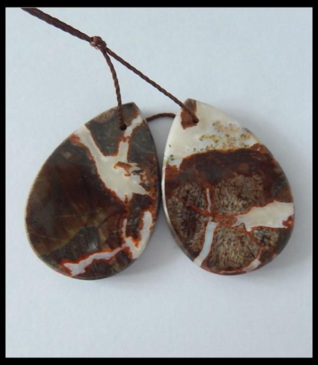 42.5ct Natural Mushroom Jasper Earring Beads